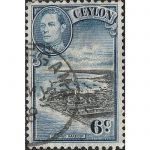 Ceylon 1938 -1949 King George VI Colombo Harbour – Six Cents – Blue Black
