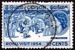 Ceylon 1954 Royal Visit – 10 April – Ten Cents – Blue