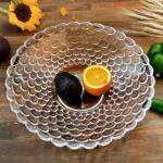 Crystal Glass Fruit Salad Bowl Bubble Pattern