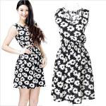 Floral Printed Sleeveless Chiffon Dress Black – Medium