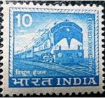 India 1965 -1967 Local Motifs Electric Locomotive – 10 Cents – Blue