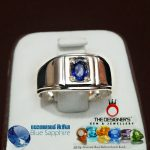 Blue Sapphire Gemstone Gents Silver Ring