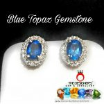 Blue Topaz Gemstone Silver Earrings