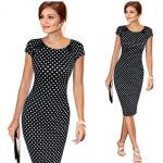 Polka Dot O-Neck Print Formal Dress