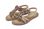 Socofy Women Bohemian Flower Casual Shoe Beach Flat Sandals – Beige