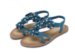 Socofy Women Bohemian Flower Casual Shoe Beach Flat Sandals – Blue