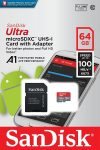 SanDisk Ultra Micro SDXC UHS-I Memory Card 100MB Class 10 With Adapter - 64Gb - SDSQUAR-064G-GN6MA