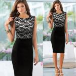 Patchwork Black Lace Maxi Dress