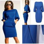 Elegant Half Sleeve with Belt Women Work Dress