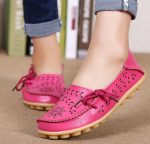 Socofy Large Size Floral Hollow Out Comfy Shoes Casual Lace Up Flats – Rose