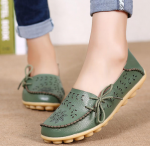 Socofy Large Size Floral Hollow Out Comfy Shoes Casual Lace Up Flats – Army Green