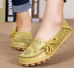 Socofy Large Size Floral Hollow Out Comfy Shoes Casual Lace Up Flats – Light Yellow