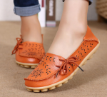 Socofy Large Size Floral Hollow Out Comfy Shoes Casual Lace Up Flats – Orange