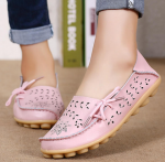 Socofy Large Size Floral Hollow Out Comfy Shoes Casual Lace Up Flats – Pink