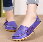 Socofy Large Size Floral Hollow Out Comfy Shoes Casual Lace Up Flats – Purple