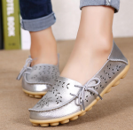 Socofy Large Size Floral Hollow Out Comfy Shoes Casual Lace Up Flats – Silver