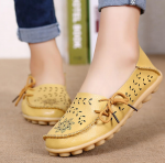 Socofy Large Size Floral Hollow Out Comfy Shoes Casual Lace Up Flats – Yellow