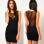 Women's See-Through Sleeveless Splice Lace Party Cocktail Mini Dress Black