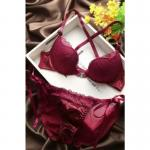 Dark Angels Sexy Lace Bra & Brief Set European Style – Padded Maroon