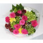 Magenta Colour Roses Bunch With Leaves