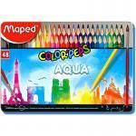 Maped Aqua Color Peps 48 Color Pencils in Metal Box