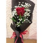 Single Red Rose Sheaf